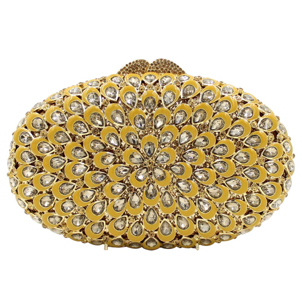 Crystal Clutches Purse For Women Evening Bags Chain Luxury Rhinestones Wedding Yellow