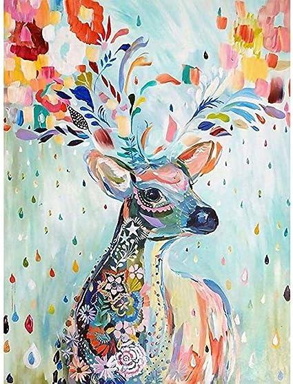 Amazon.com: (24x34cm)5D DIY Diamond Painting Watercolor Animals Diamond Mosaic Picture of Rhinestones Christmas Diamond Embroidery Cross Stitch Home Decor Sika Deer: Arts, Crafts & Sewing