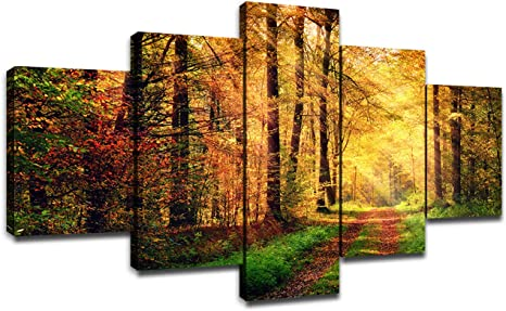 Sunset near the lake and Autumn Forest Canvas Wall Art Design Poster Print Decor for Home /& Office DecorationIPOSTER or CANVAS READY to Hang