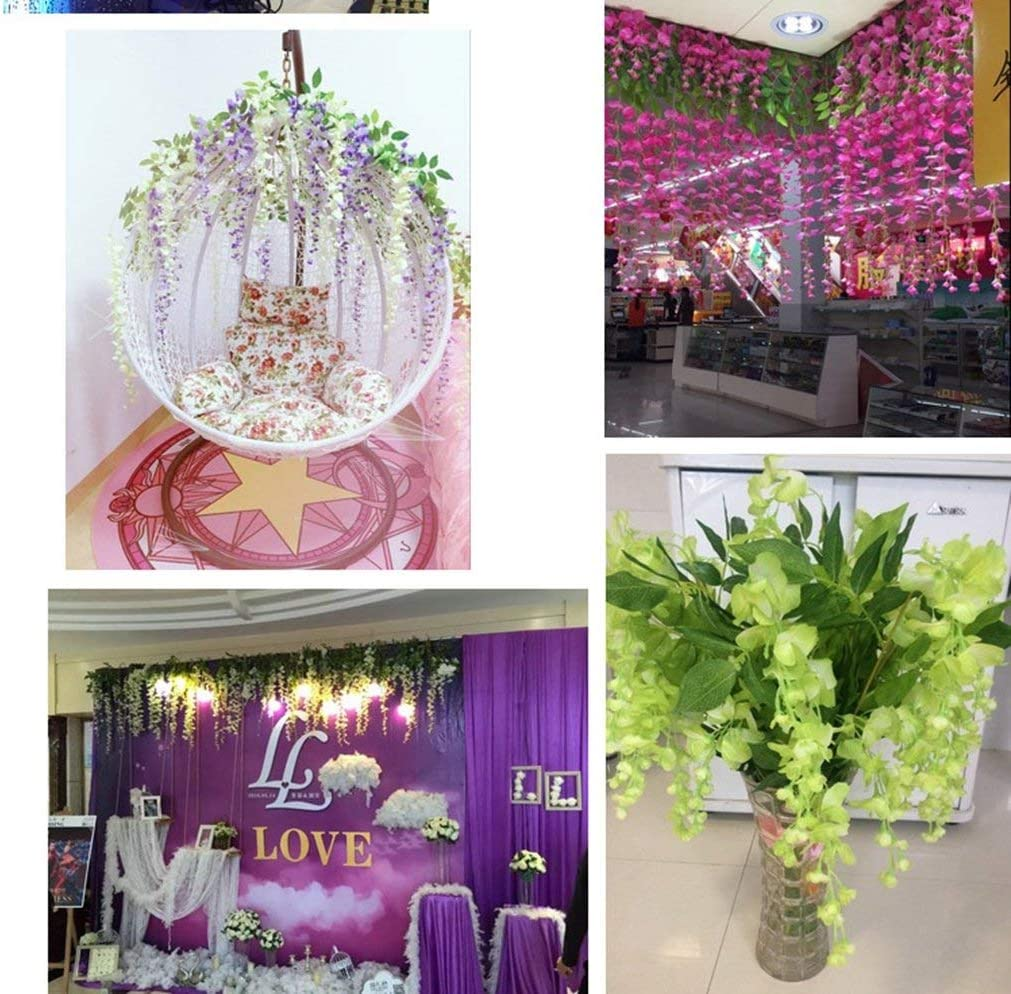 110 cm 12 pcs Fleurs Artificielles D/écoration de la Maison chaque M/èche artificiel Wisteria Fleur en soie pour mariage D/écorations Home Garden Party Decor