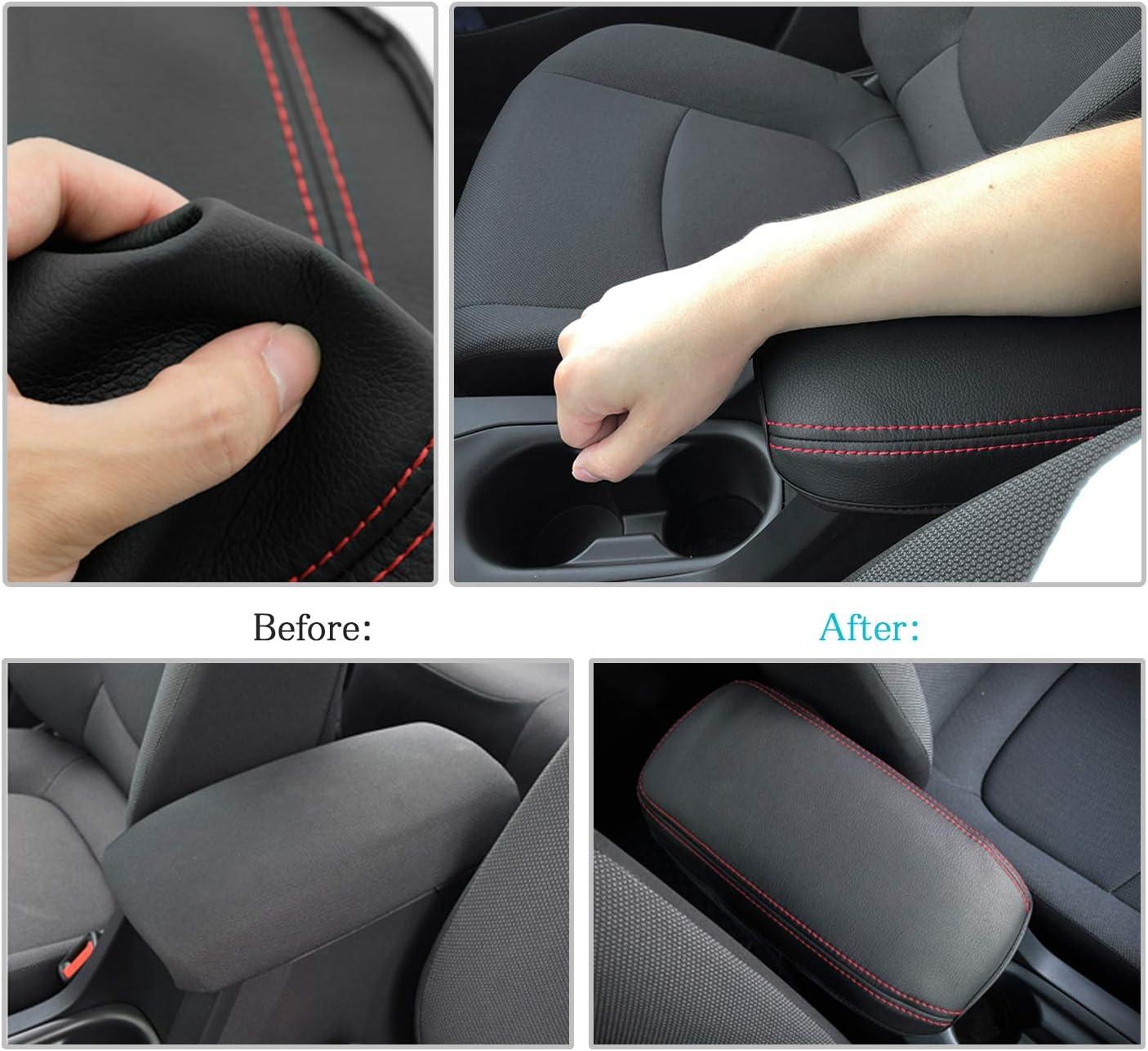CDEFG Car Center Console Pad for 2020 Corolla E210 Auto Armrest Seat Box Cover Protector Black Leather