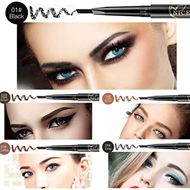 NICEFACE Precision Waterproof Brow Liner Double Ended Eyebrow Pencil With Eyebrow Brushes Tools 5 Colors Pack Of 1