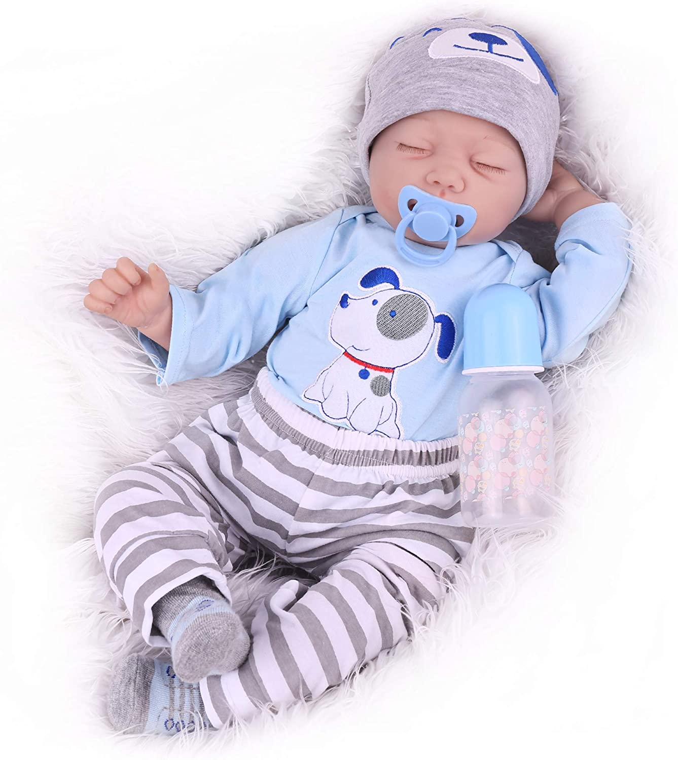 Cute Realistic Lifelike Reborn Baby Doll with Accessories for Children Age 3+ 22 Inch Reborn Baby Girl CHAREX Sleeping Reborn Baby Doll