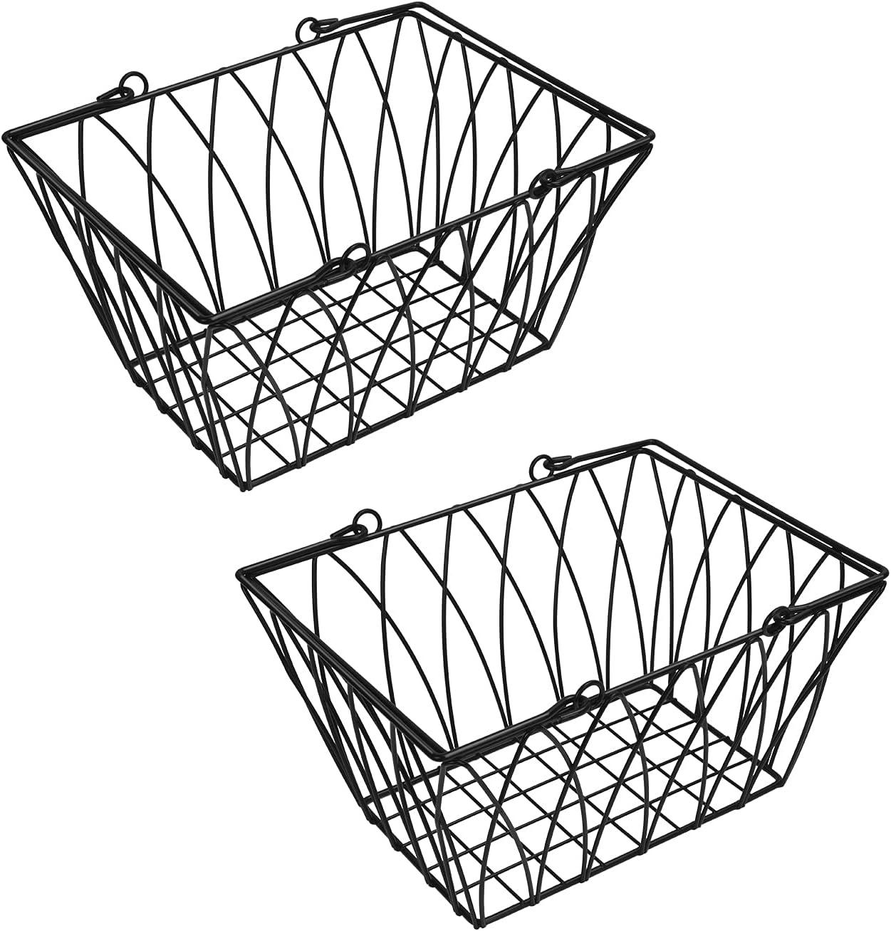 2 Pcs Wire Storage Basket, Yaenoei Metal Storage Basket with Handles, Farmhouse Decor Storage Organizer Bin Household Food Baskets for Closets, Pantry, Shelf, Kitchen, Bathroom, Garage