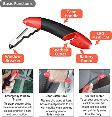 Batteries Included Car Emergency Escape Tool with LED Flashlight Car Cane Portable Vehicle Support Grab Bar Seatbelt Cutter Standing Assist Mobility Aid Handle Window Breaker