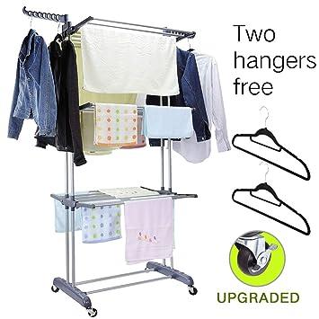 Amazon.com: MIZGI - Tendedero de 3 niveles para ropa con ...
