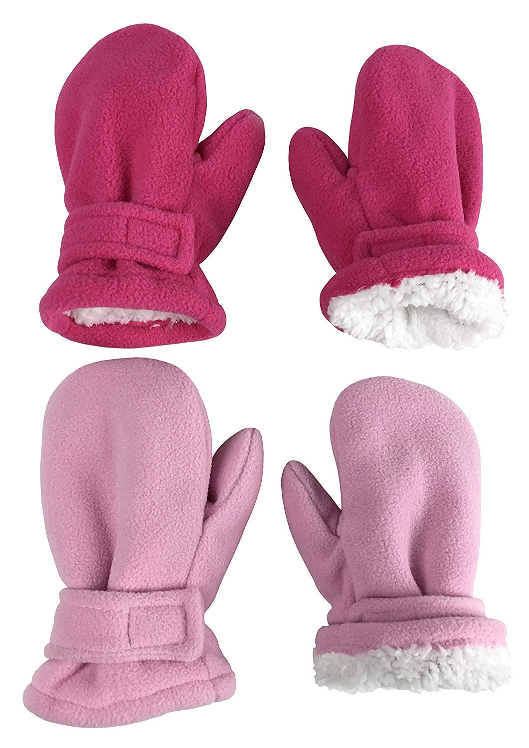 N'Ice Caps Little Kids and Baby Easy-On Sherpa Lined Fleece Mittens - 2 Pair Pack (Pink/Fuchsia Pack, 4-6 Years)