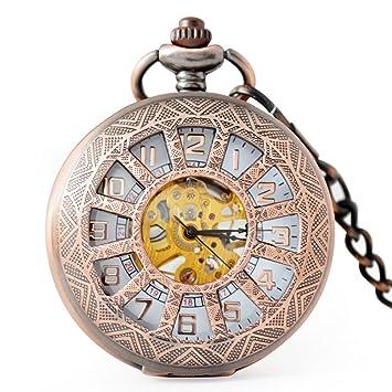 SW Watches Retro Sun Hollow Skeleton Reloj De Bolsillo Mecánico Automático Unisex Reloj De Cadena: Amazon.es: Hogar