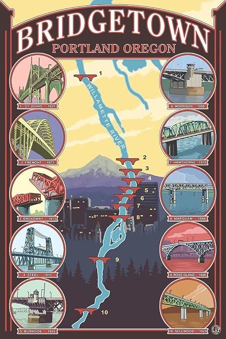 Amazon.com: Bridges of Portland, Oregon (9x12 Art Print, Wall Decor ...