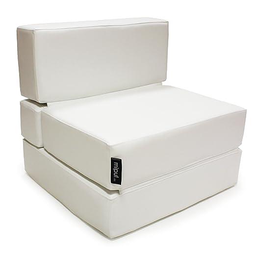 MiPuf - Sofá Puf Cama Plegable - 190x80x20 cm - Tejido Polipiel Alta Resistencia - Doble Costura - Interior Foam Alta Densidad - Blanco - 4 años de ...