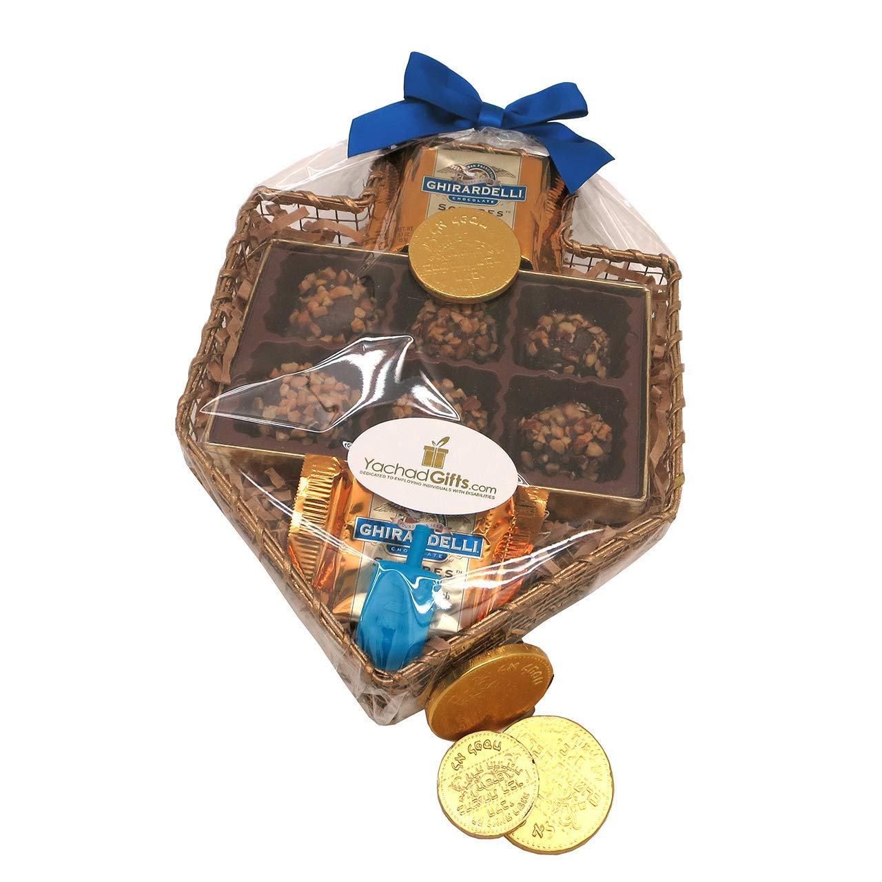 A Chanukah Dreidel Gift Basket of Chocolate Marzipan by Yachad Gifts