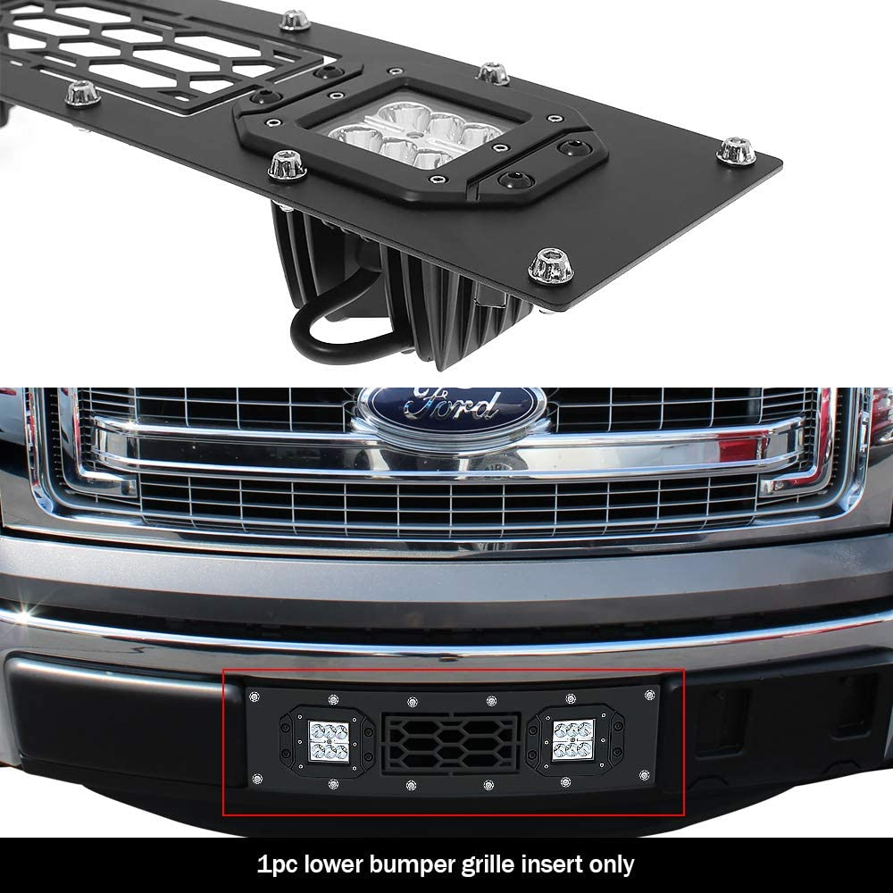 APS Compatible with 2009-2014 Ford F-150 Lower Bumper Stainless Steel Black Laser Cut Mesh with Stud Rivets /& LED Grille Insert N19-L9876LF