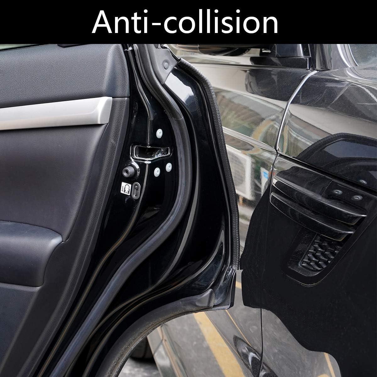 Senzeal 5M//16.4FT Car Door Edge Guards U Shape Rubber Car Door Protector Edge Trim Anti-collision Seal Strip Clips Fit for Most Cars Black
