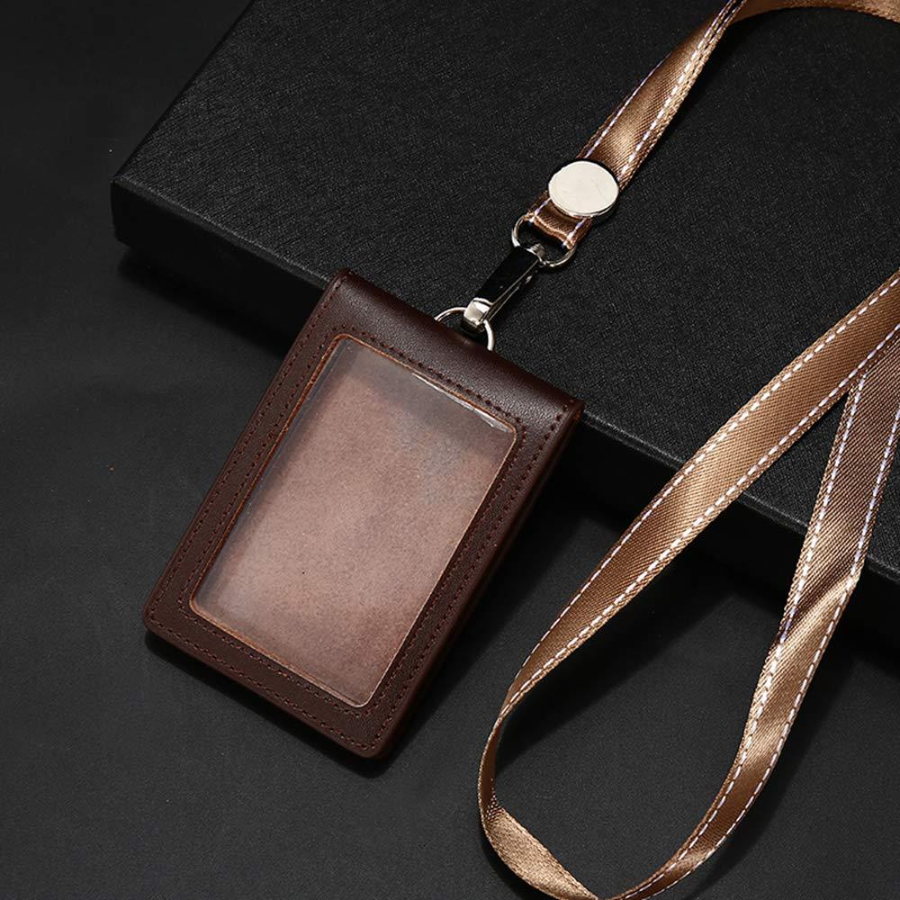 Porta badge con cordino retrattile da collo Lanyard/_Retractable Grigio in pelle doppio lato HBT