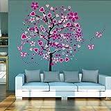HaimoBurg Enorme albero Cuore farfalla Adesivi Murali, Camera dei Bambini Vivai Adesivi da Parete Removibili/Stickers Murali Decorazione Murale con scatola regalo
