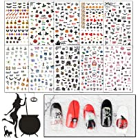 WOKOTO 10 Sheets 3D Halloween Adhesive Nail Art Stickers Set Design Nail Decals Tips Manicure Decoration With 1Pc Tweezers
