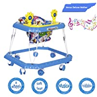 Dash Venus Deluxe Musical Baby Walker with Cushioned Seat, Rattle, Light and Horn (Blue)
