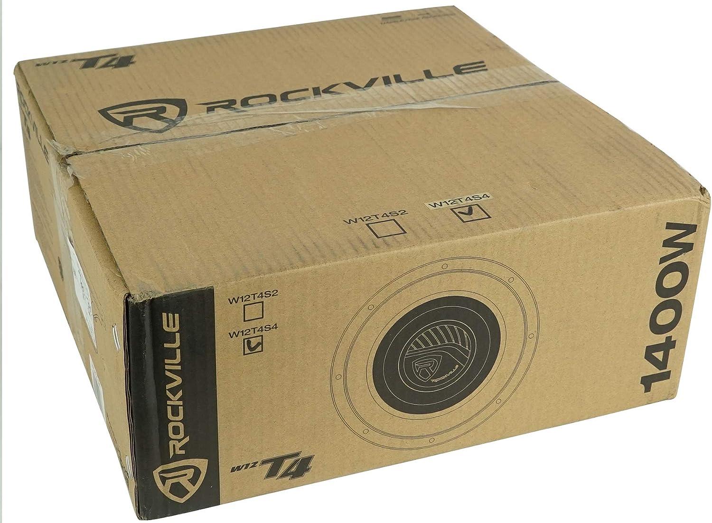 4-Ohm 2 Rockville W12T4S4 12 Shallow Mount 1400w Car Subwoofers CEA Compliant