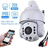 SUNBA 2.0 Megapixel 1080P HD, PoE+, 20X Optical Zoom, Night Vision, PTZ Outdoor IP Security Dome Cameras ONVIF (507-20XB PoE)