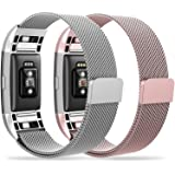 "Fitbit Charge 2 Bands,Edow (2 pack) Metal Milanese Stainless Steel Replacement Wristband Strap Bracelet with Magnetic Clasp (6.3""-9.8"") for Fitbit Charge 2,Rose Gold,Rose Pink,Champagne,Silver,Black."