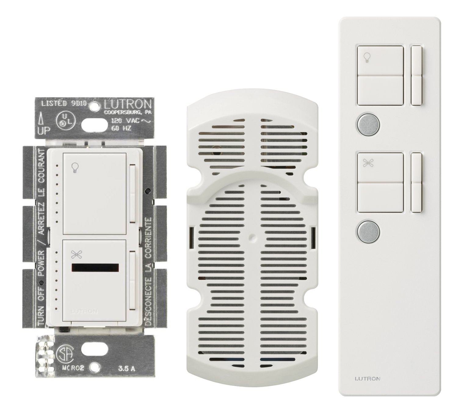 Lutron MIR-LFQMT-WH Maestro 300 Watt Dual IR Dimmer and Fan Speed Control Switch, White