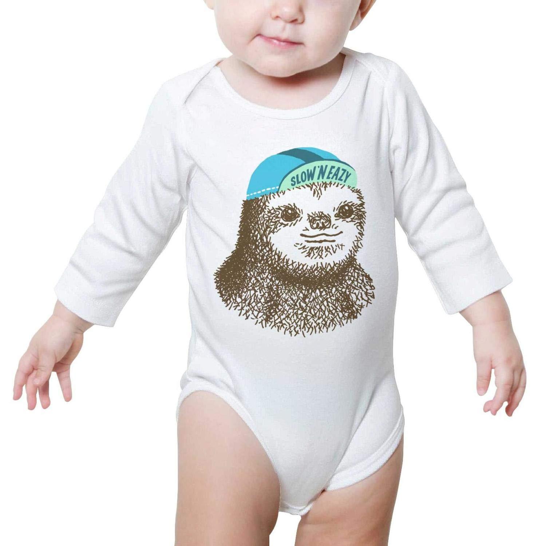 Cute Animal Vintage Sloth Design Baby Onesie Romper Long Sleeve Jumpsuits Cotton Outdoor