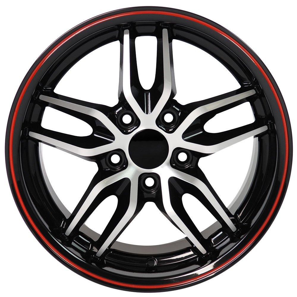 amazon oe wheels 17 inch fit corvette camaro c7 stingray style Mustang Mach One amazon oe wheels 17 inch fit corvette camaro c7 stingray style black red mach d 17x9 5 rims and toyo tires set automotive