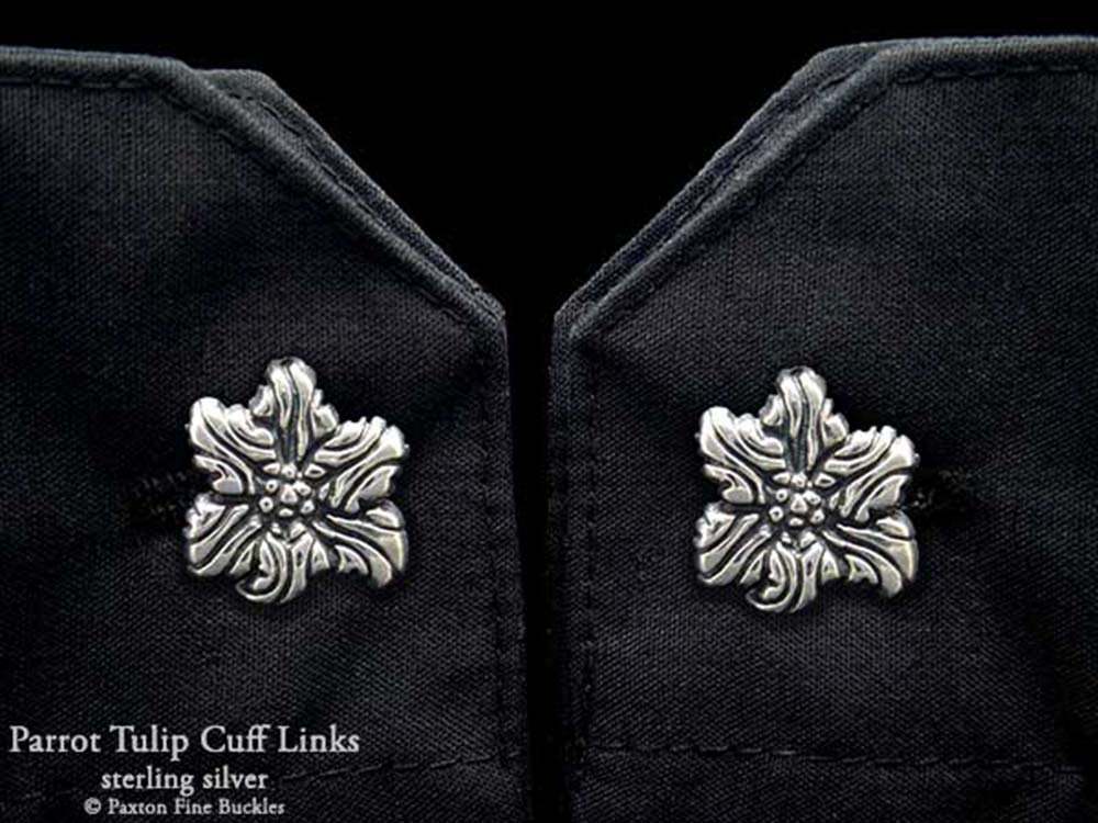 Parrot Tulip Flower Cuff Links in Solid Sterling Silver Hand Carved & Cast by Paxton