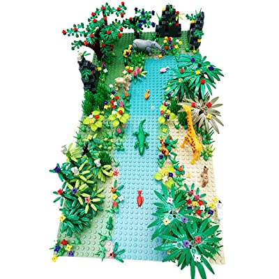 PeleusTech Building Block Parts Tropical Jungle Tree House Scenery Set with River Baseplate for Lego and All Major Building Block Brands: Toys & Games