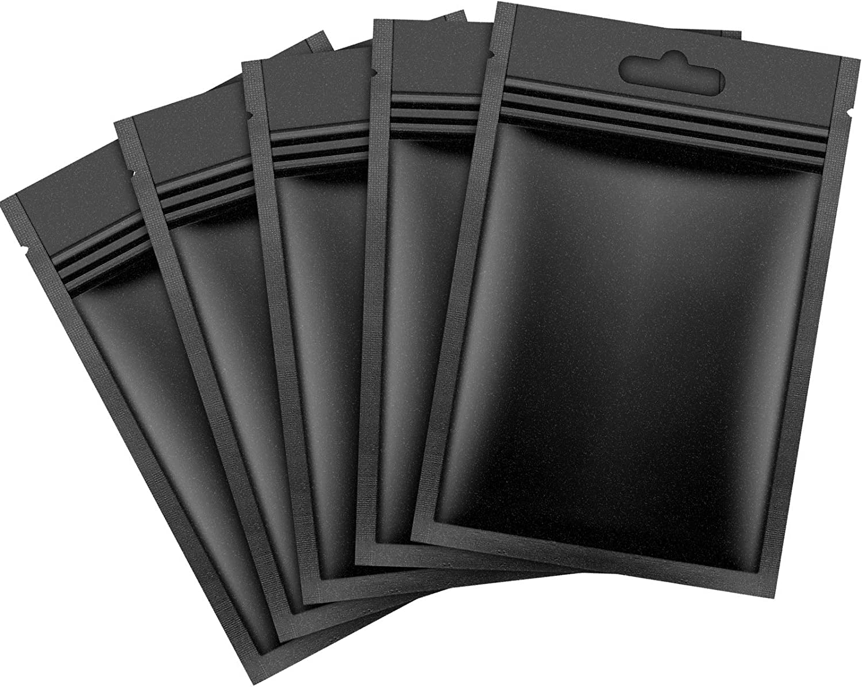 150 Pieces Smell Proof Foil Bags Matte Bags Food Storage Aluminum Foil Pouches Resealable Bags, Clear and Matte Black