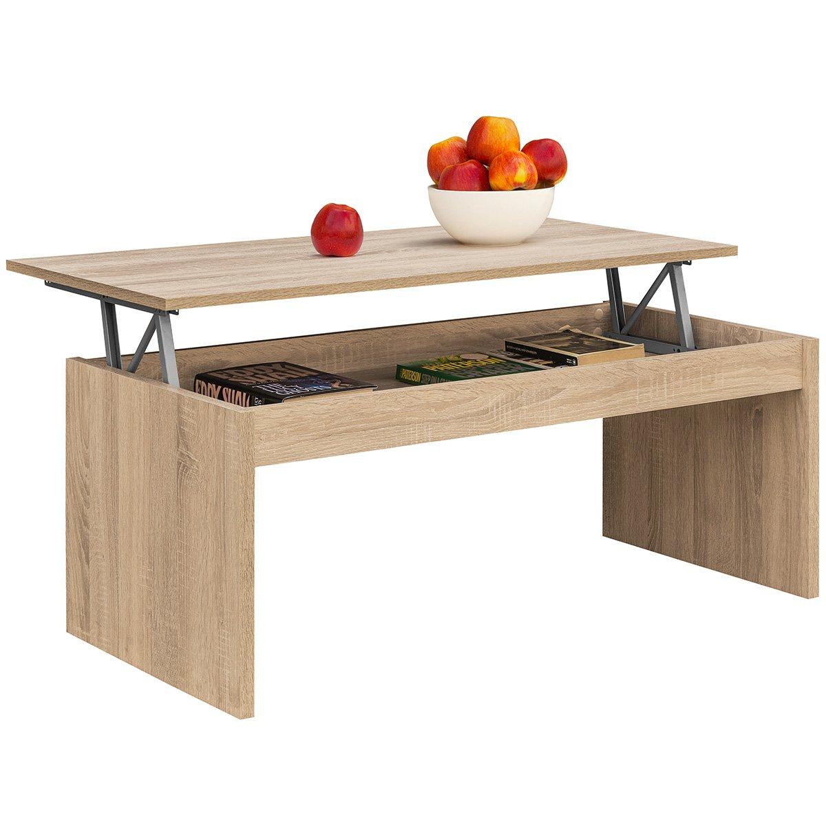 COMIFORT tavolo da salotto Oralia moderno tavolino da caffè Pranzo o salotto, 1,02x 50,2x 43/52 bianco