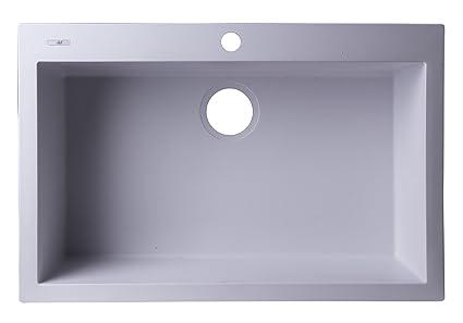 ALFI brand AB3020DI-W Drop-In Single Bowl Granite Composite Kitchen ...