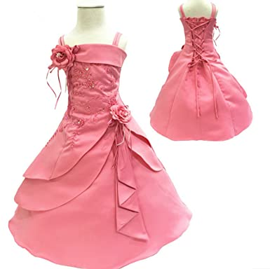 New Arrival Flower Girl Dresses Kids Embroidery Satin Beaded Long Party Evening Ball Gown Children Formal