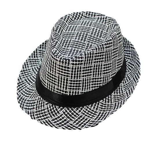 cba0dba16343aa Women Men's Classic Fedora Hat with Band Unisex Short Brim Panama Straw Fedora  Hat for Summer