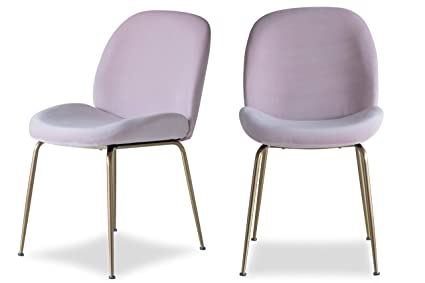 8bec7beeea2 Image Unavailable. Image not available for. Color  Edloe Finch Modern  Velvet Dining Chairs (Set of 2) Upholstered Blush Pink