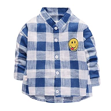 da442edee Amazon.com: KONFA Toddler Baby Boys GirlsCartoon Smile Checked T-Shirt  Pullover, Kids Long Sleeve Blouse Winter Plaid Tops Clothes: Clothing