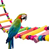 MEWTOGO 47inches Colorful Natural Parrot Ladder Toy - Pet Bird Steps Climbing Standing Perch