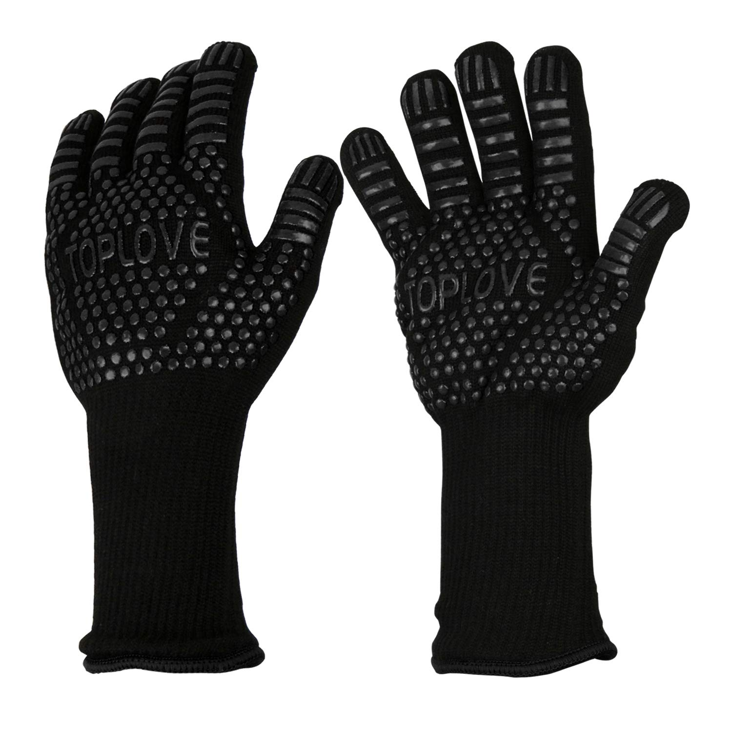 BBQ Grill Gloves [1472℉ NEWEST] EN407/EN420 CE Heat Resistant - Oven Silicone Glove Fireproof for Smoker Baking - High-temp Barbecue Grilling Potholders - Heat-insulated Cooking Mitt, X-Long by ASKALI