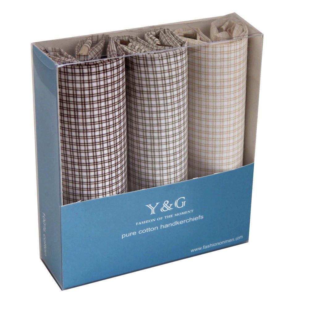 YEA0201 Checkered 3 Piece In Gift Pack Y&G Mens Hankies - Brown,Beige,Olive Drab