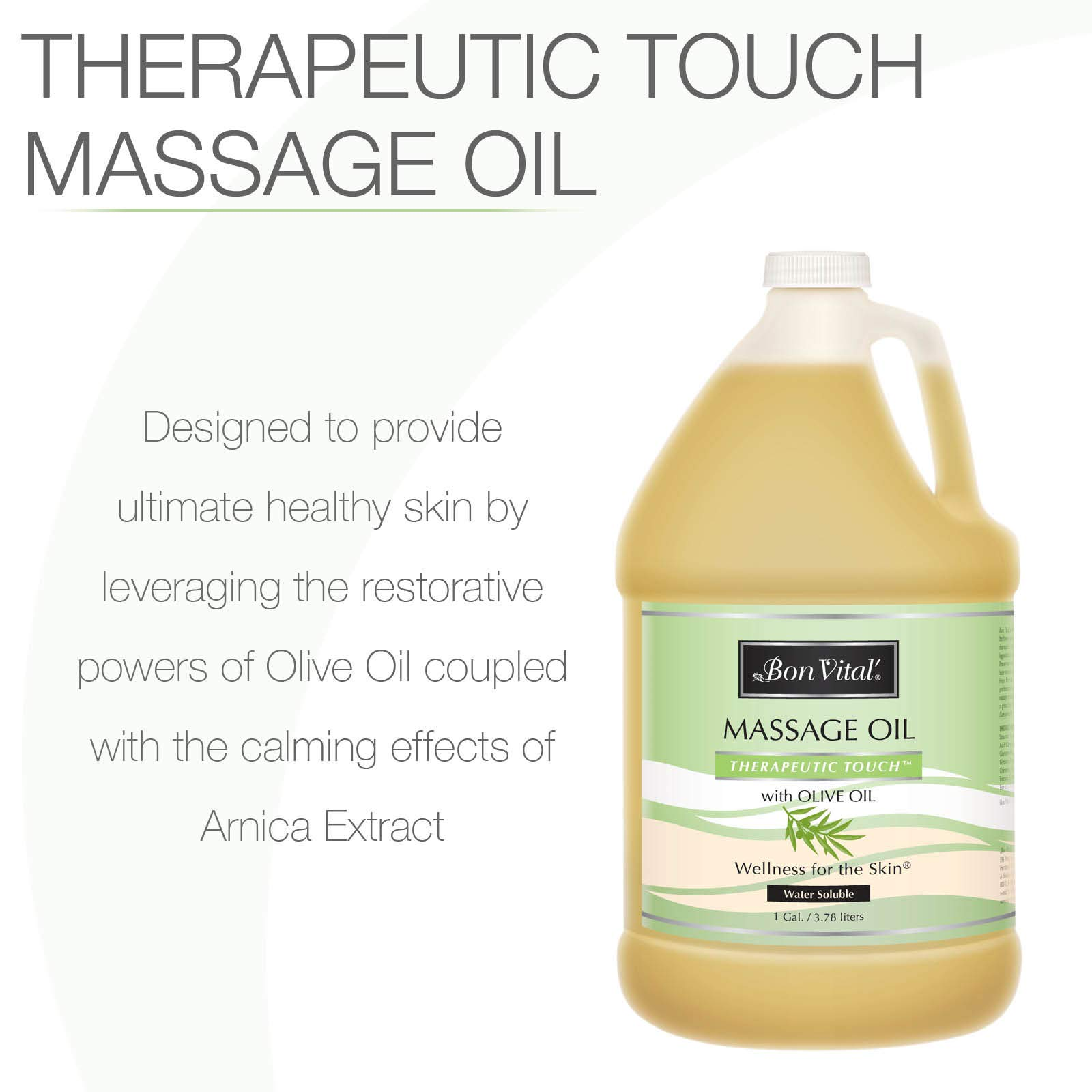 Bon Vital' Therapeutic Touch Massage Oil Made with Olive Oil to Repair Dry Skin & Soothe Sore Muscles, Lightweight Oil Perfect for Any Massage to Hydrate and Nourish Dry, Rough Skin, 1 Gallon Bottle by Bon Vital (Image #2)