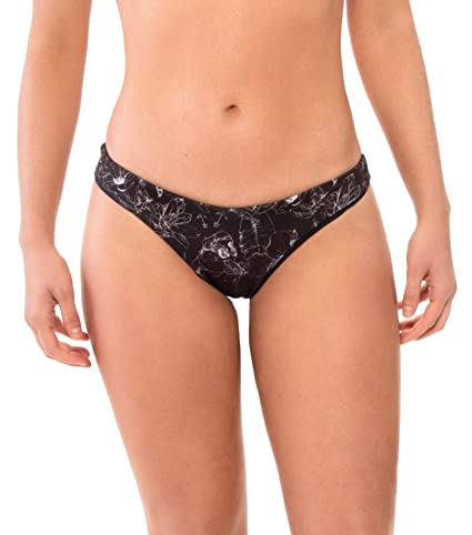 f0ee85a86d57e Akela Surf Amuse Reversible Bikini Bottom Swimwear (Patterned Black,  X-Small)