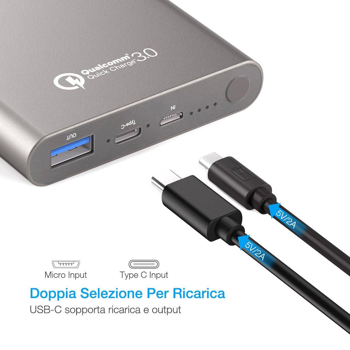 Poweradd Pilot 2GS 10,000mAh (USB-C Uscita 3A& Quick Charge 3.0 ) Batteria portatile per iPhone X, iPhone8/Plus, Nintendo Switch e tanti altri Phone e Tablet --- Grigio (cavo Micro USB e USB-C sono inclusi)