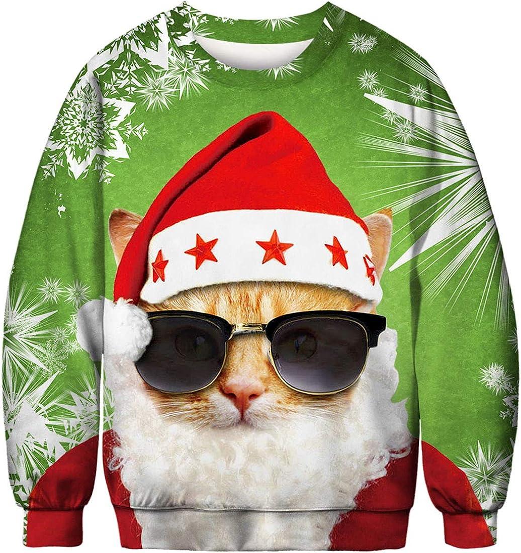 TALLA S-M. FLYCHEN Sudadera de Navidad Mujer Sin Capucha Impreso Funny 3D Christmas Colorido Divertido Sudaderas Cuello Redondo Azar Ugly