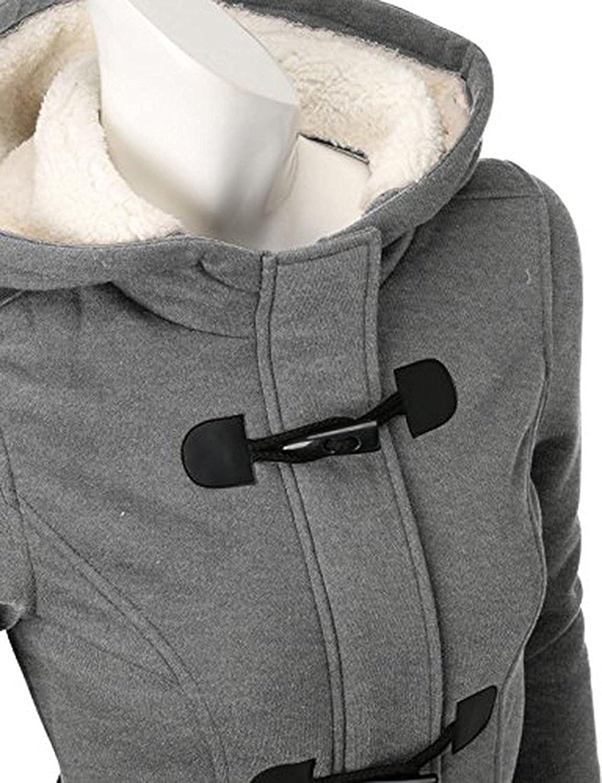 Zestway Womens Warm Casual Wool Blended Classic Hooded Pea Coat Jacket