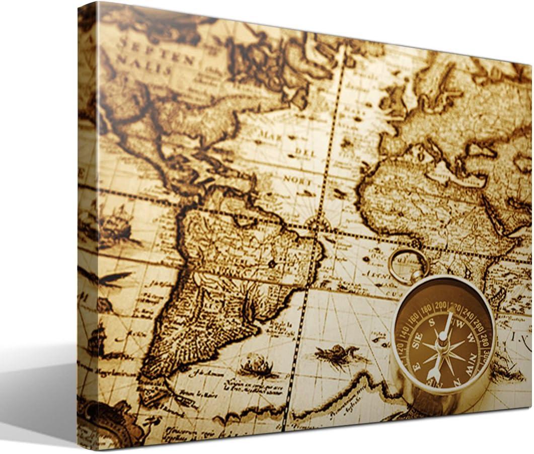 cuadro canvas Mapa mundi vintage - 55cm x 40cm - Fabricado en España: Amazon.es: Hogar