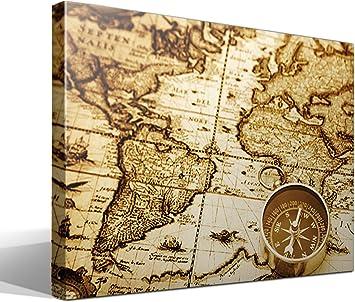 cuadro canvas Mapa mundi vintage - 75cm x 55cm - Fabricado en España: Amazon.es: Hogar
