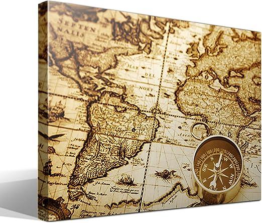 cuadro canvas Mapa mundi vintage - 75cm x 55cm - Fabricado en ...
