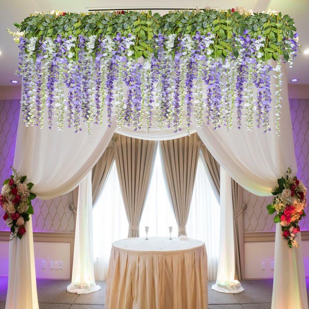 Purple 8pcs Artificial Flowers Silk Wisteria Vine Ratta Silk Hanging Flower Wedding Decor