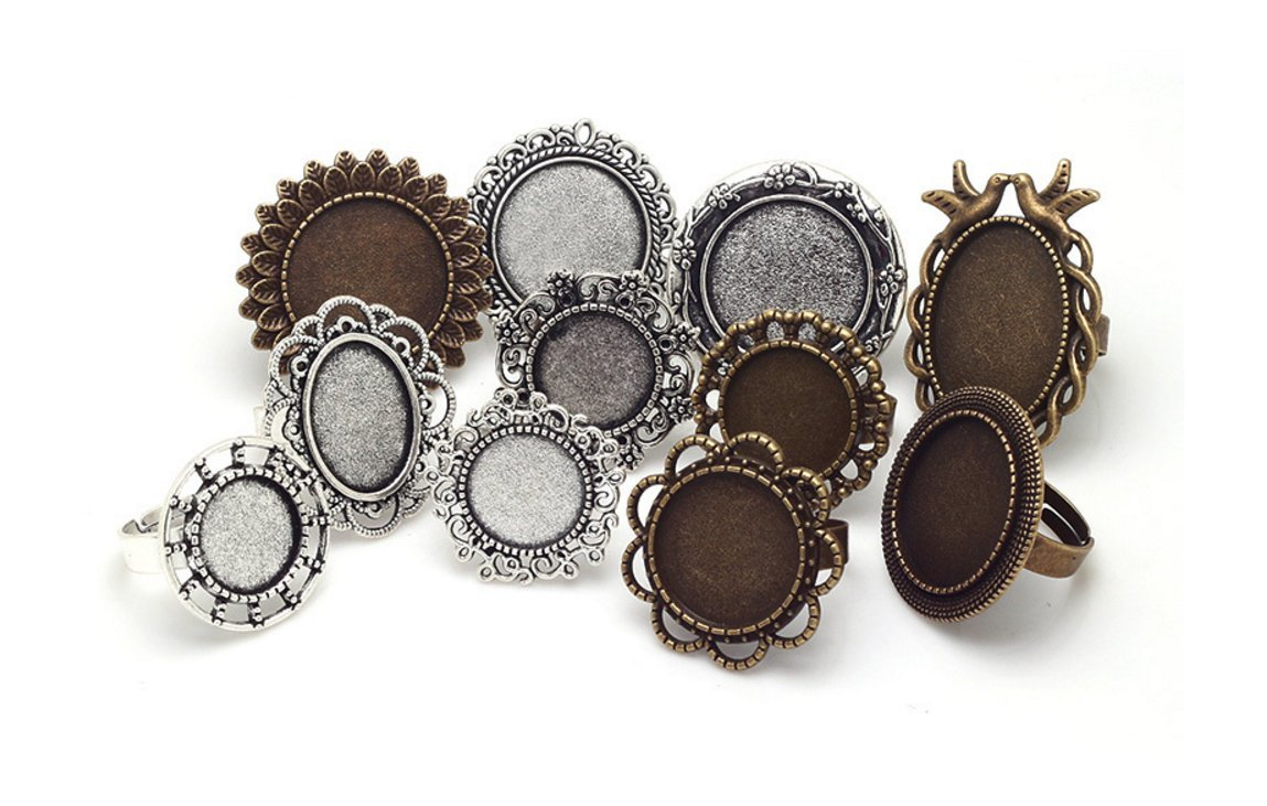 Mixed Adjustable Ring Blanks, Cabochon Rings Settings, Variety Sizes & Colors (11 Pieces)