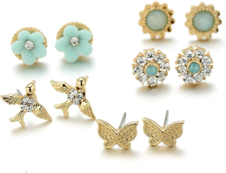 Onnea Gold Tone Cute Bird Butterfly Flower Green Earrings Set for Girls, Hypoallergenic